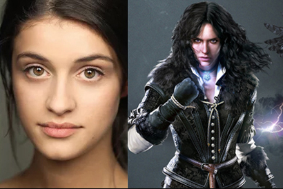 Yennefer en the Witcher 3 y retrato de Anya Chalotra