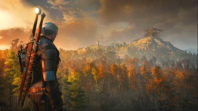 Vista que Geralt tiene  a la salida del sol de una pequeña montaña