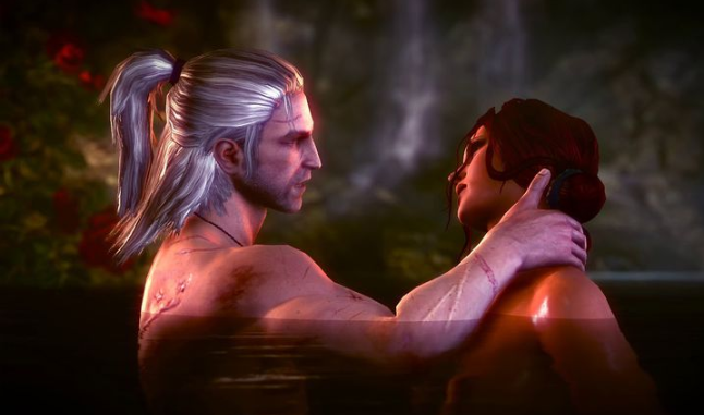 Geralt y Triss encuentro amoroso en The Witcher 3